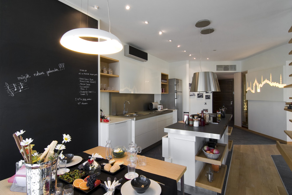 Inspiration for an industrial kitchen remodel in Other with flat-panel cabinets and white cabinets