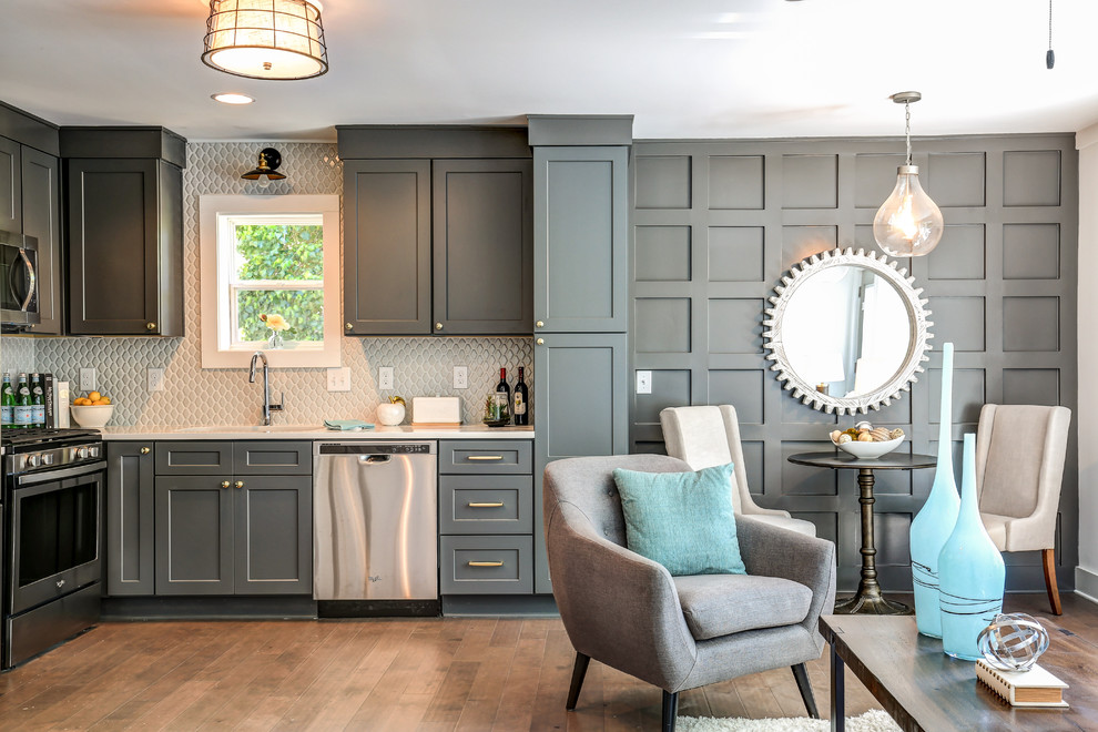 Small transitional open concept kitchen photo in Atlanta with shaker cabinets, gray cabinets, quartz countertops, gray backsplash, ceramic backsplash, stainless steel appliances and no island