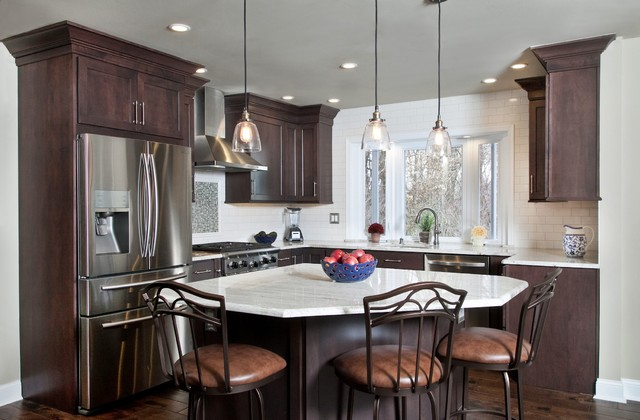 Mahogany Kitchen With Sit In Island Transitional