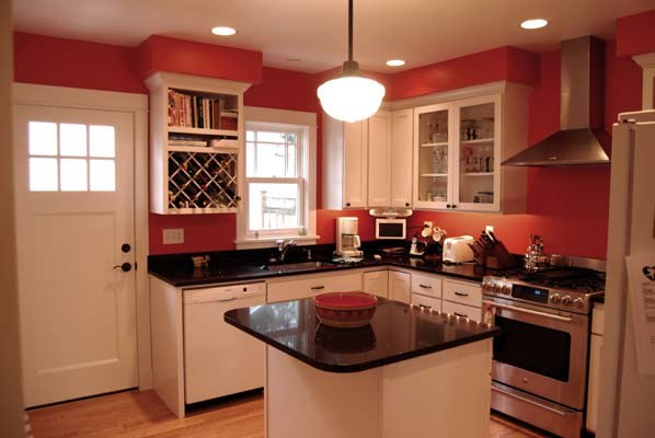 white kitchen cabinets red walls