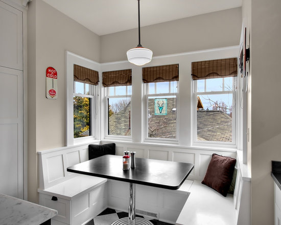 Woven wood shades home design ideas pictures remodel and for Built in kitchen table ideas