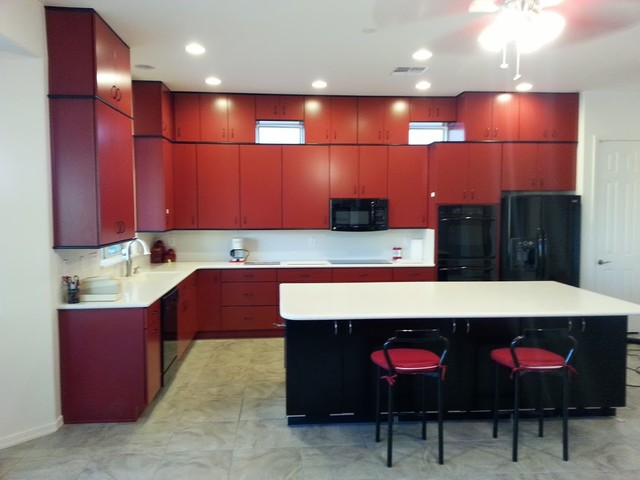 Phoenix Kitchen Contractor Remodel Red Cabinets Modern Kitchen Phoenix