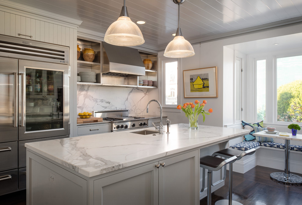 Kitchen - transitional kitchen idea in San Francisco with stainless steel appliances, gray cabinets, marble countertops and marble backsplash