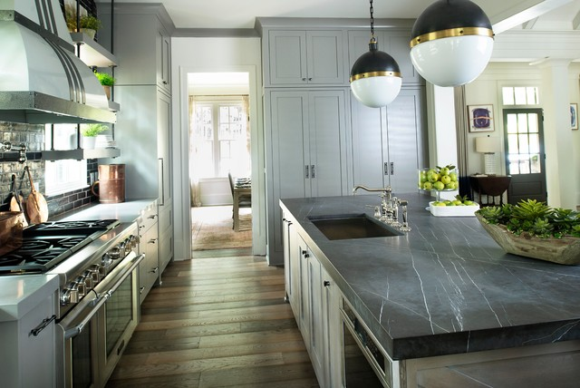 Pietra Grey Honed Marble Island Transitional Kitchen