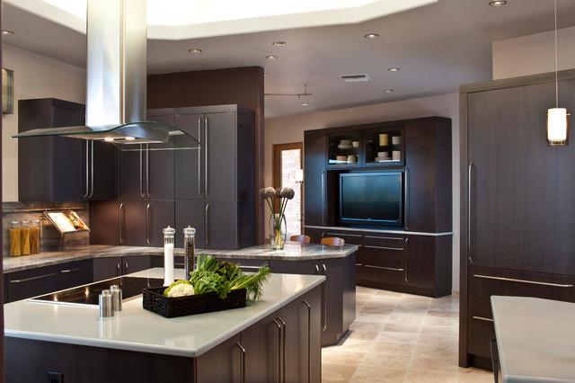 dark chocolate brown kitchen cabinets design example trendy phoenix flat panel wood