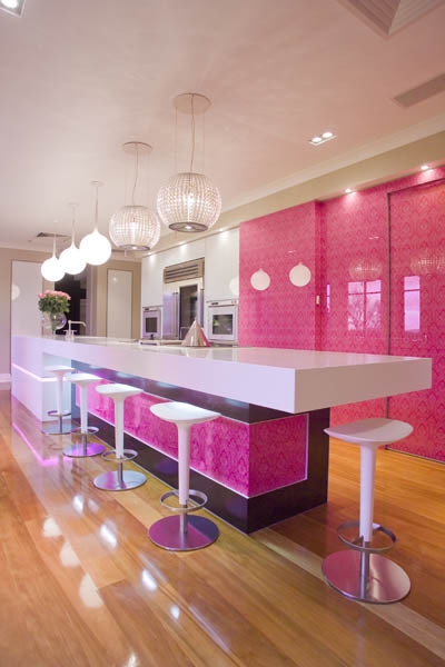 Pink Glass Kitchen contemporary kitchen