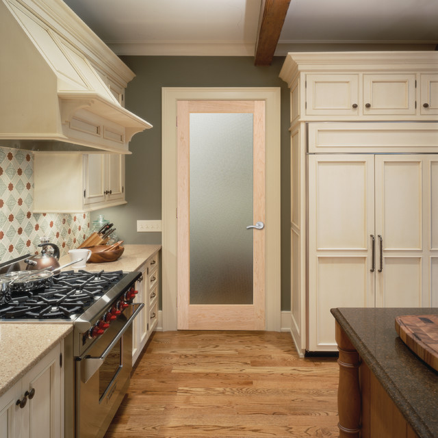 Pinpoint Glass Interior Door Traditional Kitchen