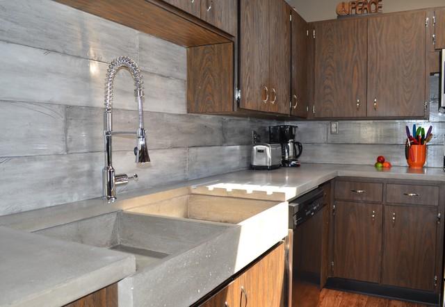 Plank Form Concrete Backsplash Apron Farmers Sink  : midcentury kitchen from www.houzz.com size 640 x 442 jpeg 69kB