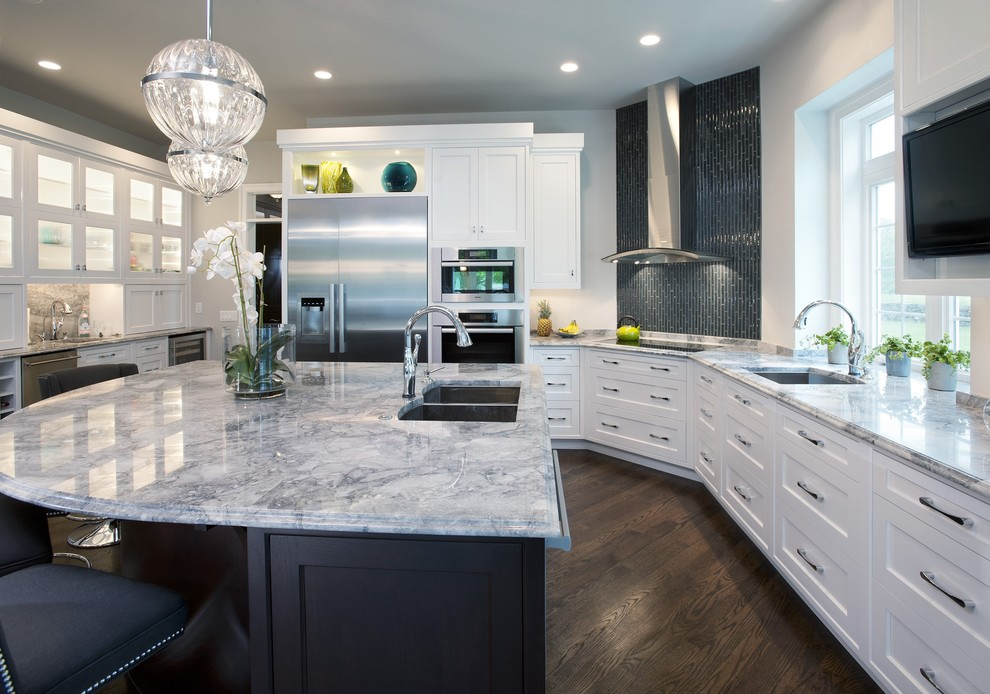 Example of a trendy kitchen design in Philadelphia with stainless steel appliances and granite countertops