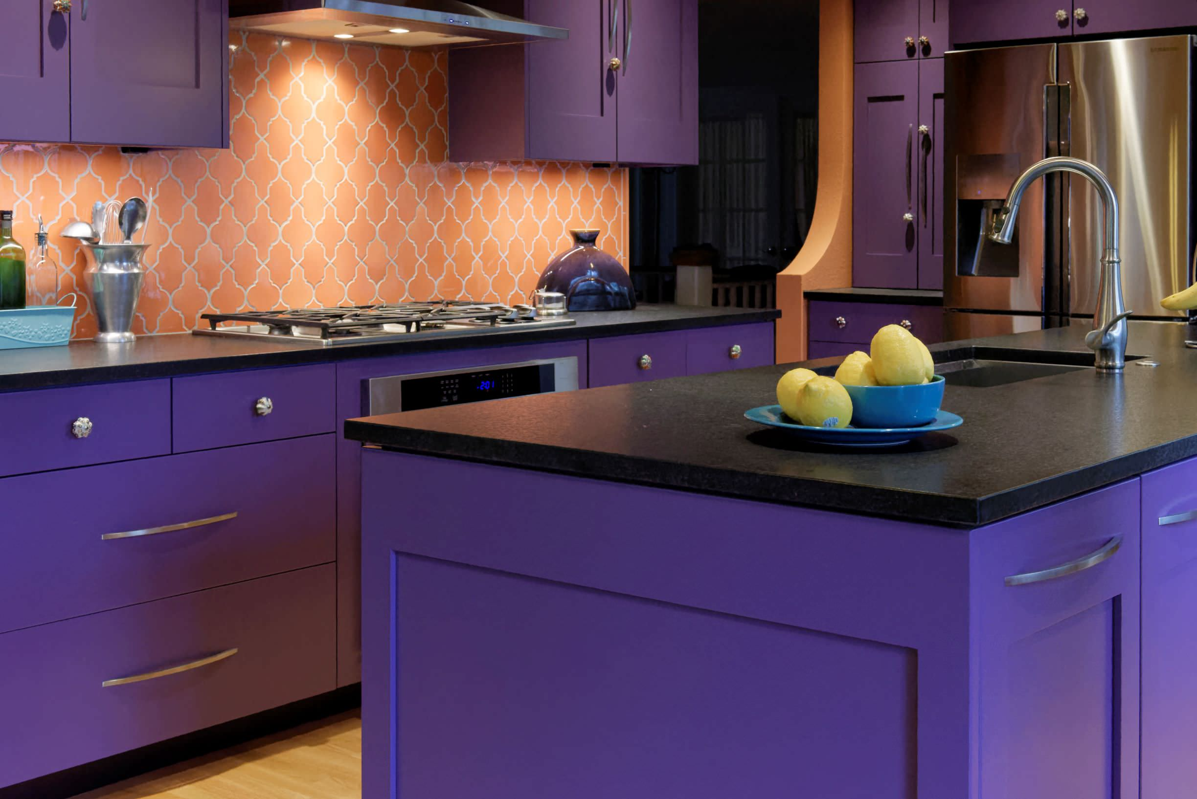 75 Beautiful Purple Kitchen With Black Countertops Pictures Ideas May 2021 Houzz