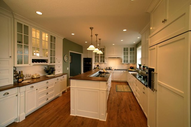 Plymouth residence - Poplar wood kitchen cabinets ...