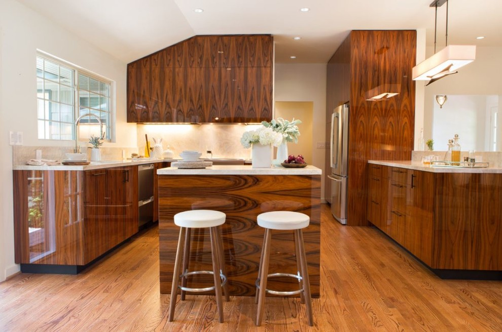 Polished High Gloss Santos Rosewood Kitchen Contemporary Kitchen Houston By Jim Farris Cabinets
