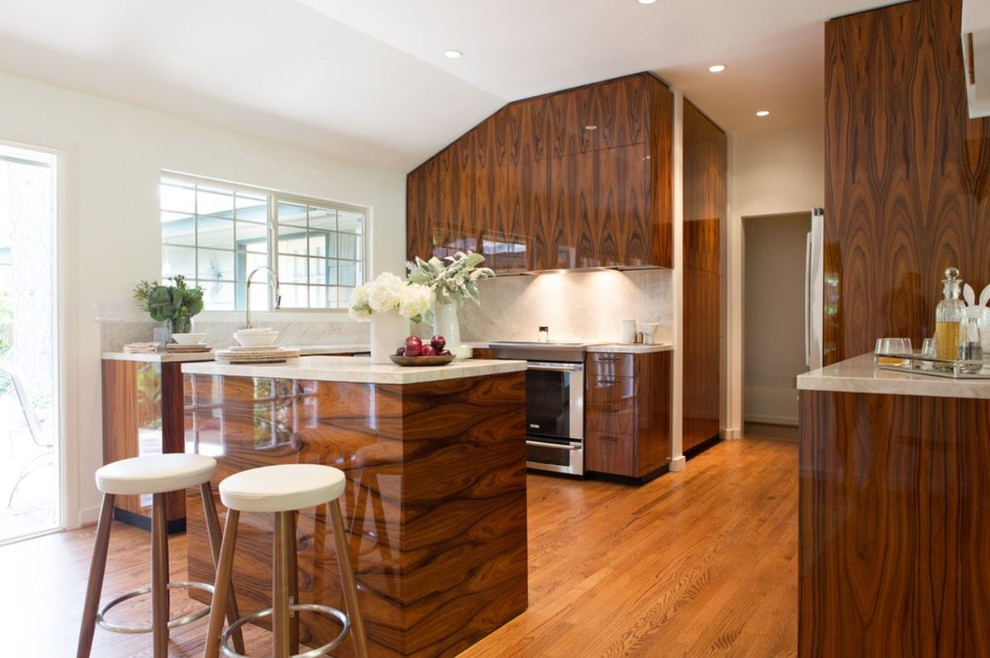 Polished High-Gloss Santos Rosewood Kitchen - Contemporary ...