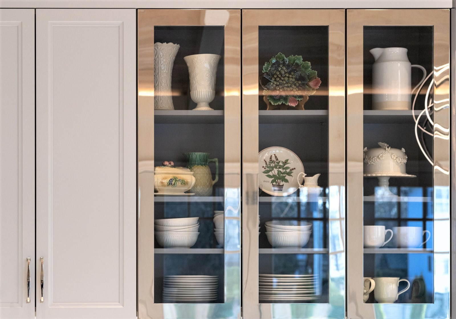 polished nickel doors with contrast finished interiors