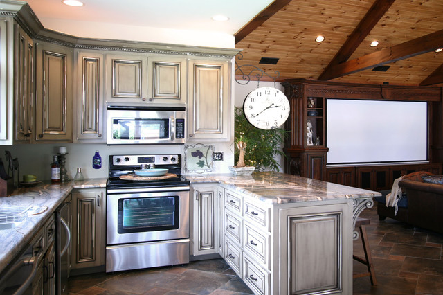 Man Cave Kitchen Ideas : Pool house man cave combination traditional kitchen