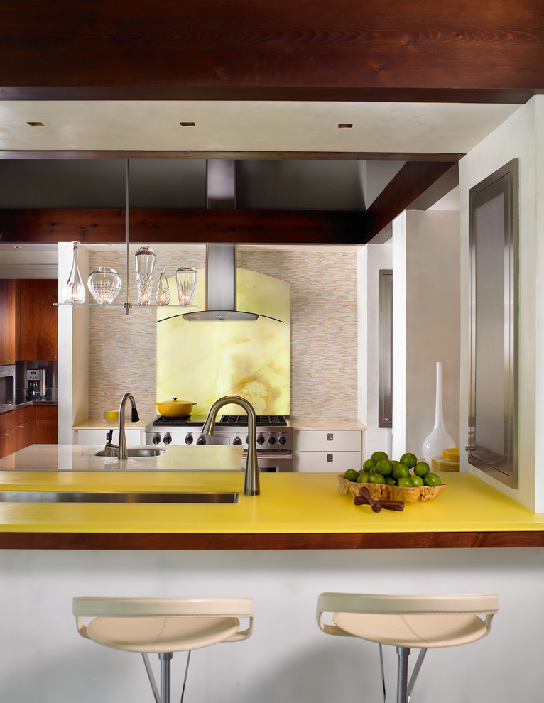 Enclosed kitchen - contemporary enclosed kitchen idea in Nashville with an undermount sink, flat-panel cabinets, yellow backsplash, stone slab backsplash, stainless steel appliances and yellow countertops