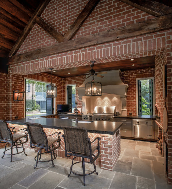 Pool House Outdoor Kitchen American Traditional Kitchen Houston By Penberthy Custom Builders