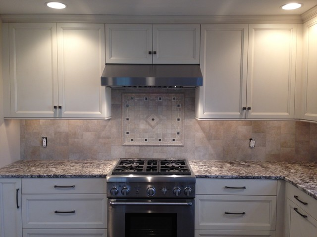 Porcelain backsplash w custom mosaic stove accent inlay tile - Custom kitchen backsplash tiles ...
