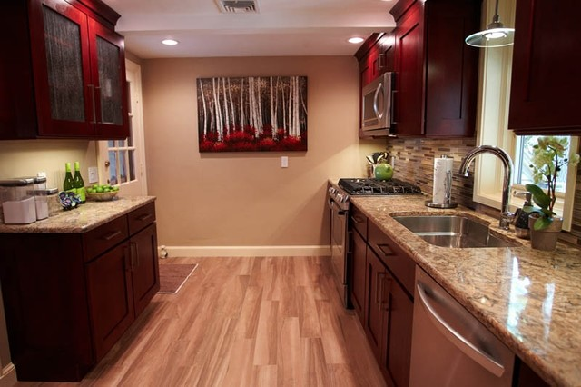 Porcelain Faux Wood Flooring Traditional Kitchen