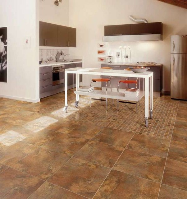 Porcelain floor tile in kitchen modern kitchen other for Hardwood floor tile kitchen