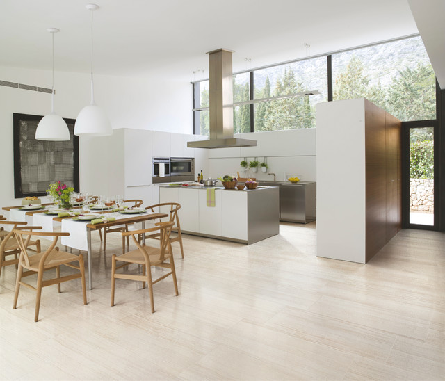 Lovely Porcelain Tiles In Kitchen Part - 6: Example Of A Mid-sized Minimalist U-shaped Light Wood Floor Eat-in