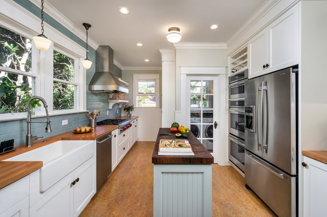 narrow kitchen design. Portland Craftsman Kitchen traditional kitchen  Traditional by