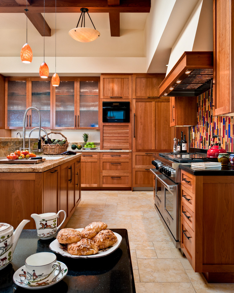 Inspiration for a large contemporary u-shaped ceramic tile open concept kitchen remodel in San Francisco with granite countertops, paneled appliances, medium tone wood cabinets, multicolored backsplash, an undermount sink, shaker cabinets, mosaic tile backsplash and two islands