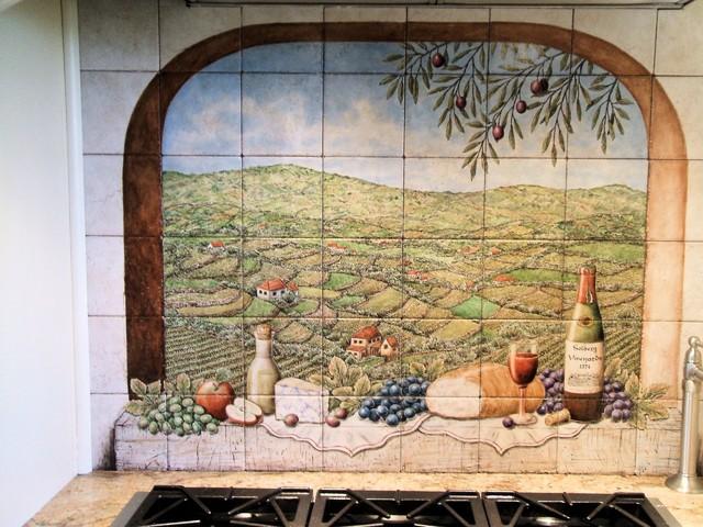 Portuguese Vista Solberg Vineyards Decorative Kitchen Backsplash Tile Mural Kitchen Phoenix By Hand Painted Tile Murals Glass Porcelain By Julia Houzz Uk