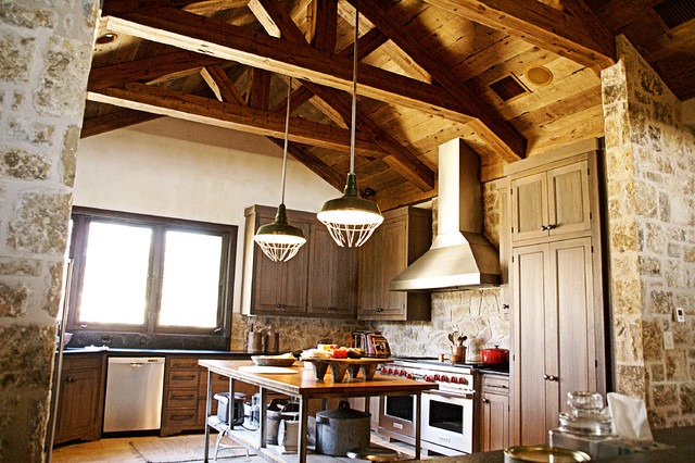 Possum Kingdom Kitchen Trusses Rustic Kitchen Dallas