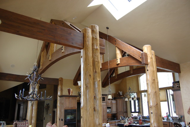 Post and beam/log work rustic-kitchen