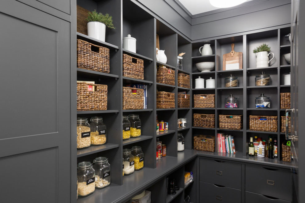 Kitchen pantry - transitional u-shaped kitchen pantry idea in Vancouver with open cabinets, gray cabinets and no island