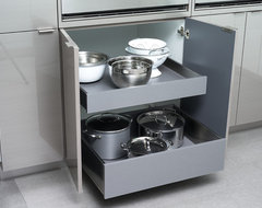 Pot & Pan Storage in Stainless Steel Roll-Out Shelves from Dura Supreme contemporary-kitchen