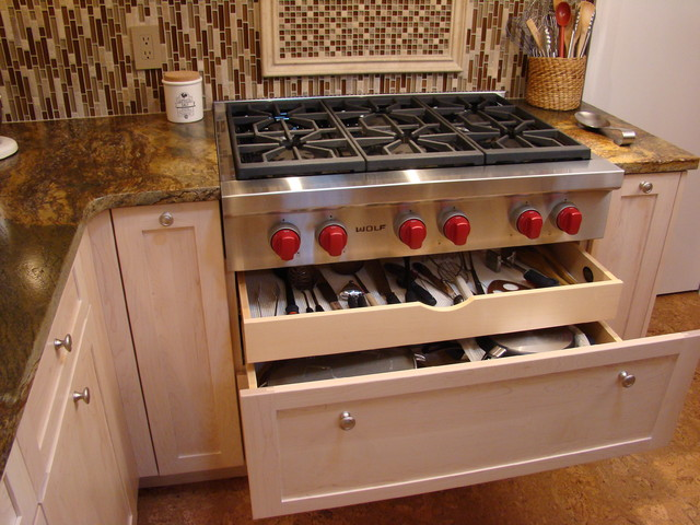 Pots Pans And Utensils Drawer Contemporary Kitchen