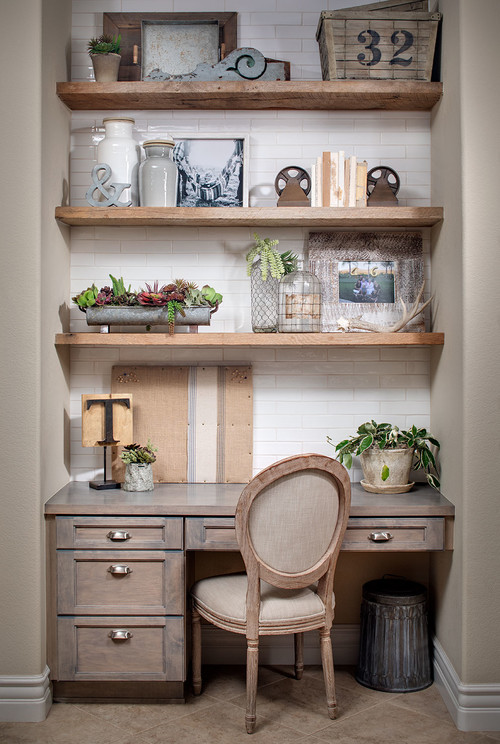 Shelves styled with vintage decor