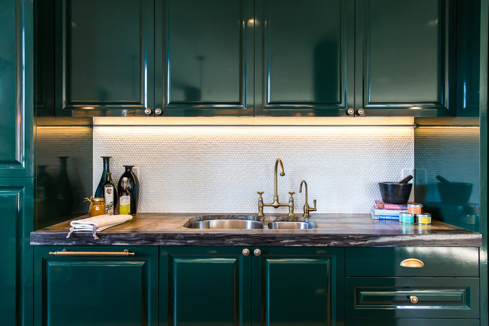 Inspiration for a transitional kitchen remodel in Vancouver with a double-bowl sink, raised-panel cabinets, green cabinets and white backsplash