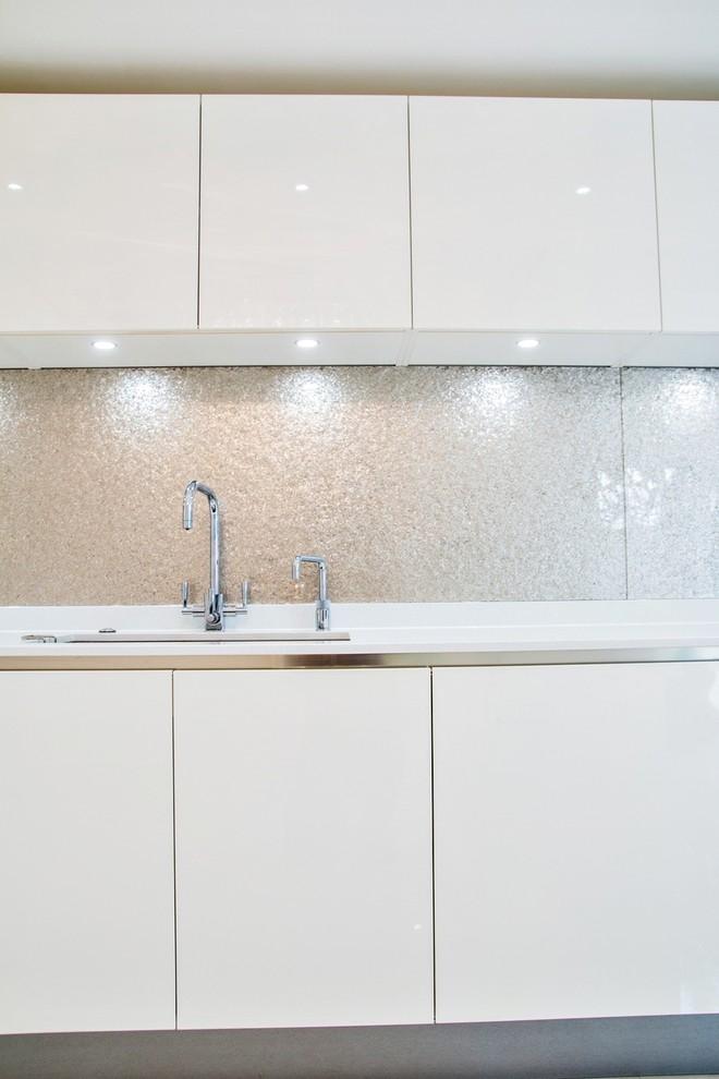 Silver Glass Kitchen Splashback, Glass Backsplash Cost Singapore