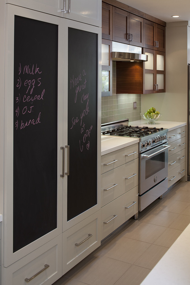 Trendy kitchen photo in San Francisco with flat-panel cabinets, white cabinets and paneled appliances