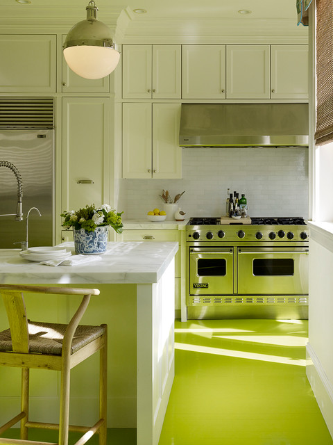 Inspiration for a contemporary painted wood floor and green floor kitchen remodel in San Francisco with stainless steel appliances