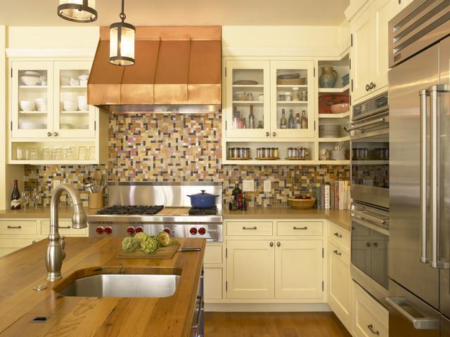 Elegant Kitchen Photo In San Francisco With Mosaic Tile Backsplash,  Stainless Steel Appliances, Wood