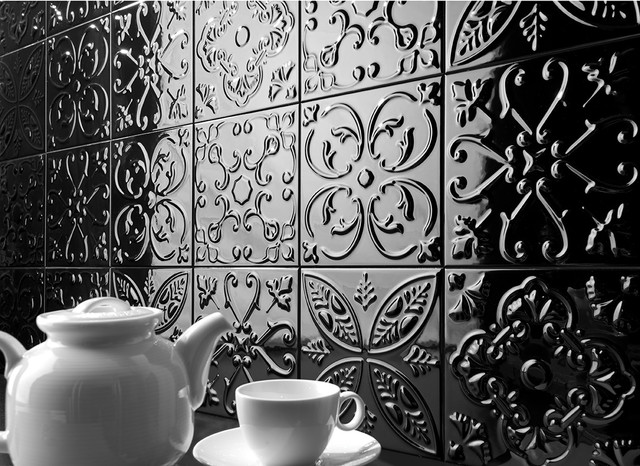 Pressed Metal Look Feature Tiles Sydney - Traditional - Kitchen ...