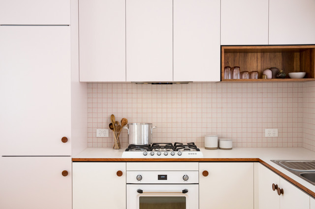 Pretty in Pink Mid Century Inspired Kitchen