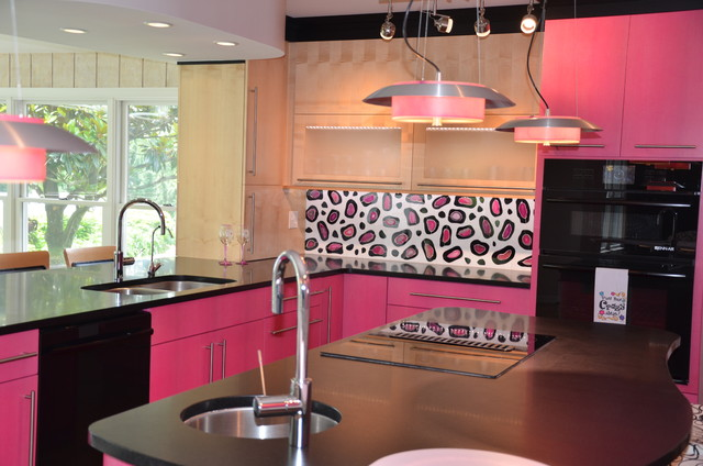 Pretty In Pink Eclectic Kitchen