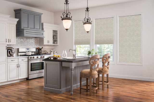 Budget Blinds Window Treatments Printed Cellular Shades Transitional Kitchen
