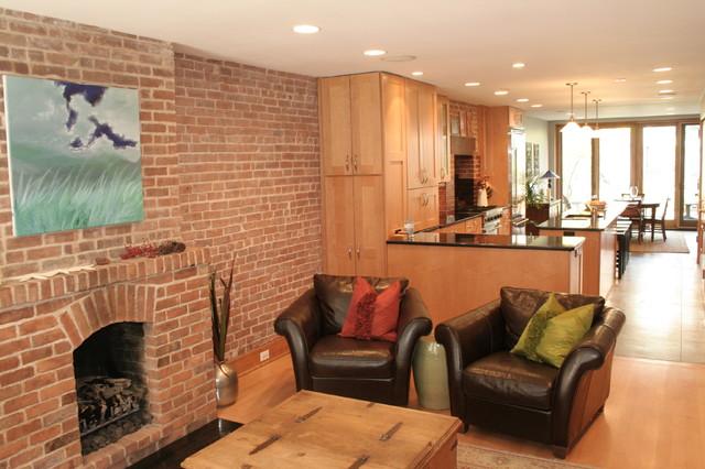 Pristine midtown brick rowhouse contemporary kitchen for Pristine garden rooms