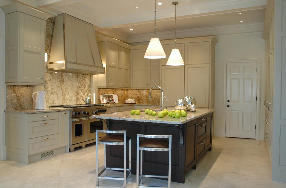 Kitchen - transitional kitchen idea in Atlanta with recessed-panel cabinets, beige cabinets, brown backsplash and stone slab backsplash