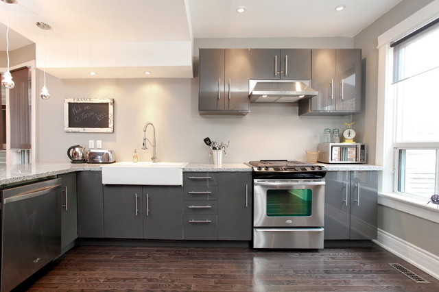 Ikea Gloss Grey Cabinets | Houzz