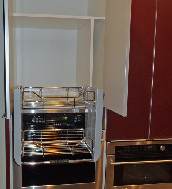 Pull-down shelf with baking sheet storage to right side - Contemporary - Kitchen - Hawaii - by ...