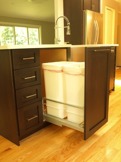 Pull Out Double Trash Cans Transitional Kitchen New York By Kraftmaster Renovations Houzz