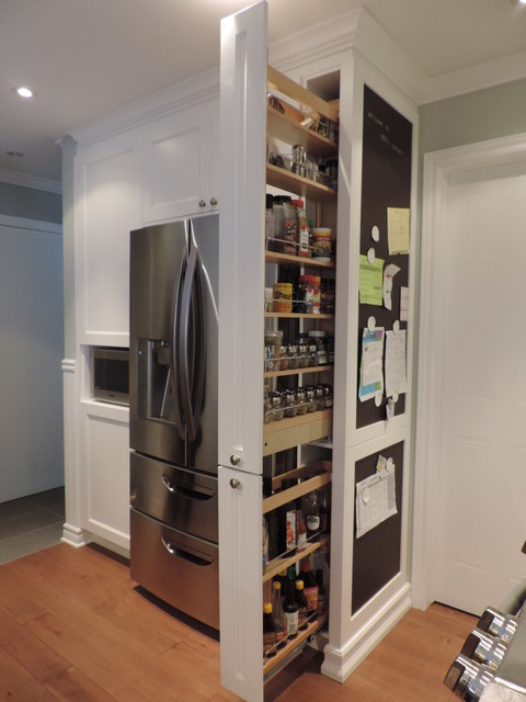Pull Out Pantry And Chalkboard Transitional Kitchen