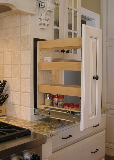 Pull-Out Spice Rack Built Into Custom Wood Hood (Open) traditional-kitchen